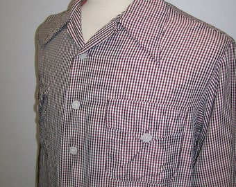1950's men's check acetate long sleeve shirt L