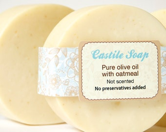 Soap vegan, Unscented Castile soap with oatmeal