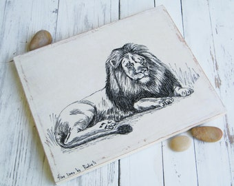 Lion print - Black and white wood sign, Leo art print, Room decor, Wood wall art, Art & collectibles, Shabby chic