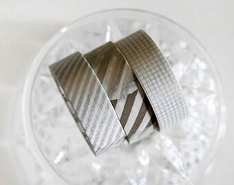 MT Metallic Silver Washi Tape Set of 3