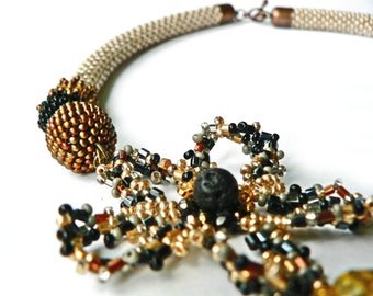 Multicolour Bead Crochet Rope Necklace/ Creamy Beaded Collar/ Ivory Brown Gold Black Necklace/ Flower motif/  SALE / Coupon code