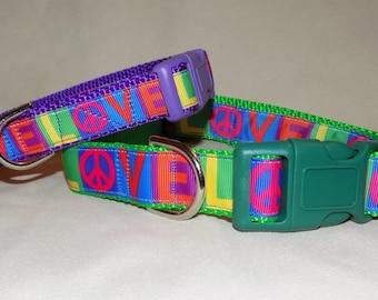 Peace Dog Collar, Love Dog Collar, Rainbow Dog Collar, Bright Dog Collar