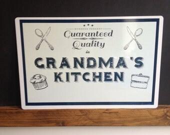 Grandma's Kitchen Metal Wall/ Door Hanging Metal -Tin Signs