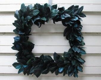 "Square Preserved Salal (Lemon Leaf) 20"" Wreath Dark Blue Green Handcrafted for Home Decor, Weddings, Crafts, Woodland, Housewarming"