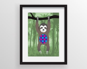 Solomon the Sloth Print