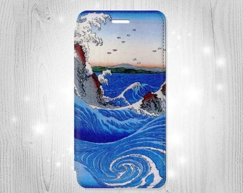 Awa Naruto Whirlpools Ando Hiroshige Leather Flip Case For iPhone 7 7 Plus 6S 6 6+ SE 5 Samsung Galaxy S7 Edge S6 Edge Plus S5 Note 5 4
