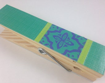 """Turquoise Jumbo Clothespin, 6"""" Clothespin, Teacher Gift, Cute Desk Accessories, Display, Paperweight, Fun Office Decor"""