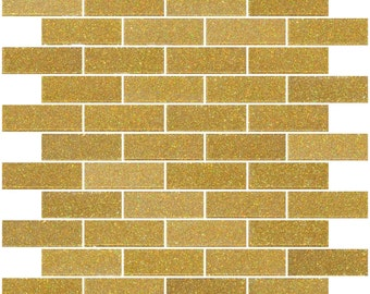 1 lb 1x3 inch gold glitter glass tiles