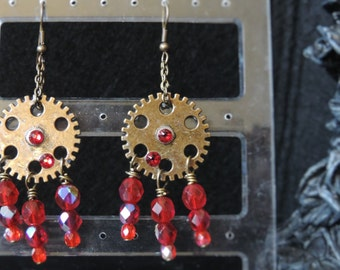 "Steampunk ""Sparkling Red"" earrings"