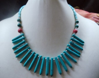 Turquoise set of 3-piece flower power statement jewelry Neclaces