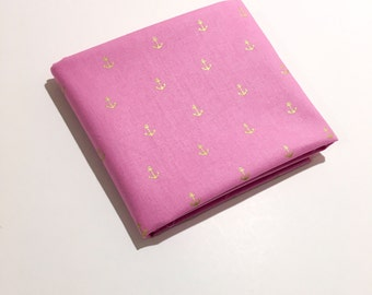 Gold Anchor Fabric on Pink - Metallic Gold Nautical Fabric for Quilting, Bedding, and Decor by the Yard