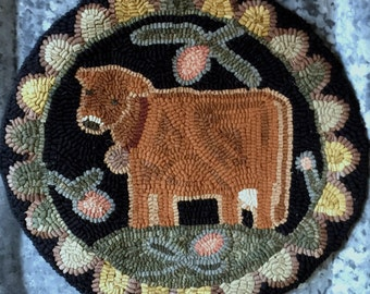 """Cow PDF Rug Hooking Pattern. PDF digital download. Primitive Chair Pad. Approx. 14"""" round. """"Fair-A-Bee"""" Chair pad. Hooked rug."""
