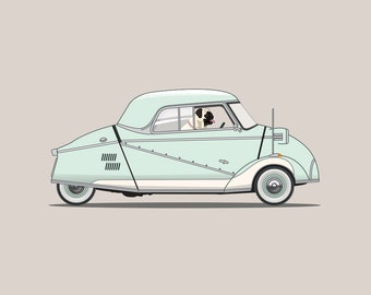 Pug dog driving his Messerschmitt - Perfect for nursery or children's room or as a gift for someone who loves their pug!
