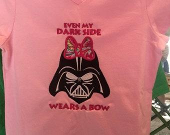 My dark side wears a bow Darth Vader inspired t-shirt