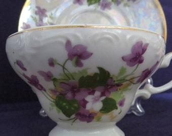 Delicate Iridescent Tea Cup with Violets