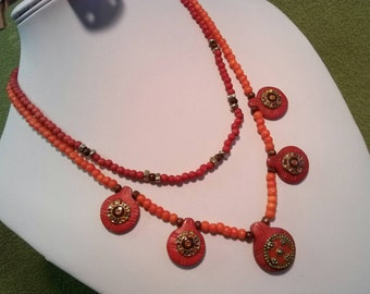 Interesting Burnt Sienna Necklace of Mystery Material! Bone? Tagua?
