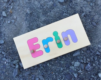 Name Puzzle 4 Letters  | add personalized engraved message on back for a keepsake gift. Shapes available in other listings