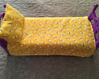 American Girl Doll Blanket Bumble Bee  19 x 14 & Pillow 5 x 8 Bumble Bee Cotton Yellow Authentic  Minky