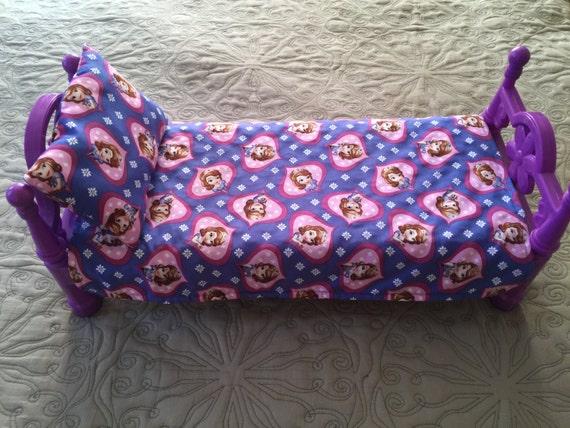American Girl Doll Sofia Disney Princess Sofia Custom Made Cotton and Purple Minky Blanket & Pillow 19 x 14 Pillow 8 x 5 Pillow