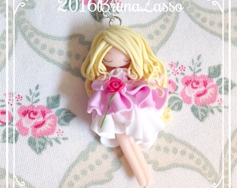 Disney Aurora Sleeping Beauty necklace Polymer Clay Fimo Necklace ~ Kawaii Cute La bella addormentata nel bosco Pink Princess Doll Fan Art