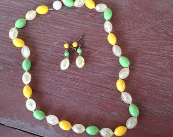 Vintage Green, Yellow, Clear and Confetti Plastic Earrings and Necklace - Signed Japan