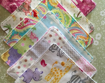 cloth baby wipes, cloth diaper wipes, cloth wipes baby girl, set of 6, baby girl shower gift,