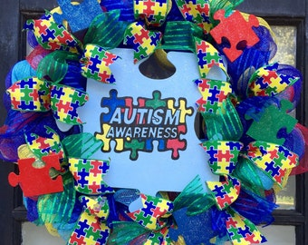 Autism awareness wreath, blue autism support wreath, autism front door wreath, autism puzzle piece sign, puzzle piece decor, autism support