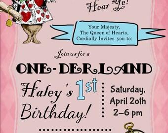 Alice in Wonderland Customized Birthday Invitation