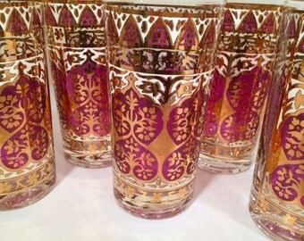 Georges Briard -Signed Mid-Century Purple and 22-Karat Gold Moroccan Glasses (Set of 8)