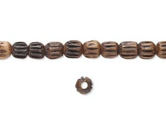 Brown Bone Bead, Corrugated Beads, Antiqued, 3 to 4mm, 40 each, D862
