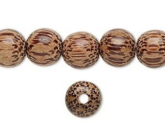 Wood Bead, Palm Tree Wood, Hand Cut Bead, 10mm, 10 each, D878