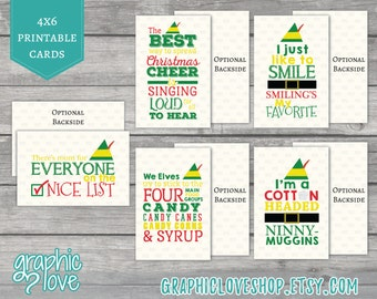 Printable Elf Movie Quotes Christmas Cards, Set of 5 designs | PDF File, Instant Download