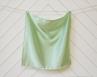 Silky White with Mini Green Polka Dots (Large)
