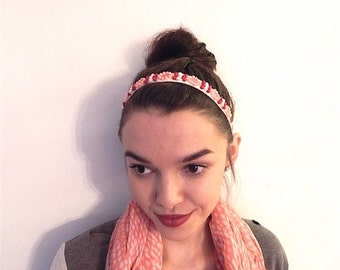 Pink, Red, and Pearl Beaded Headband