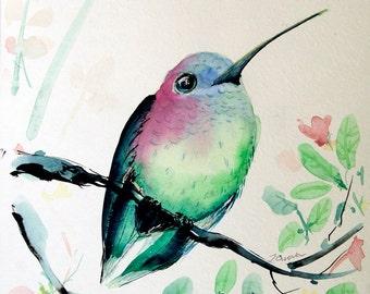 Small Hummingbird painting Original Watercolor painting of humming bird Art Original artwork Bird painting Bird Pictures Watercolor Birds