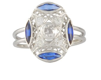 Antique Edwardian Diamonds platinum ring | Old European diamonds ring | Diamonds synthetic sapphires ring | Handmade |recycled | upcycled