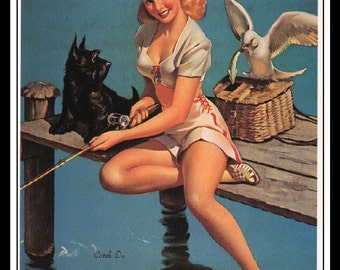 "Gil Elvgren Vintage Pinup Illustration ""Catch On"" Sexy Pinup Mature Wall Art Deco Book Print 5.5"" x 4"""