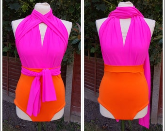 Convertible Swimsuit Bathing Suit Infinity Swimwear Pink Orange Lots of colours Multiway Swimsuit High Waisted Made to Order