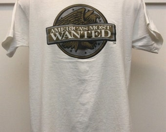Vtg Early 90s America's Most Wanted T-Shirt L White Thin 50/50 Screen Stars Fox TV Show
