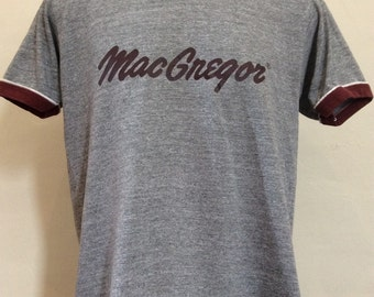 Vtg 70s 80s MacGregor Tri-Blend Ringer T-Shirt Heather Gray L Sportswear