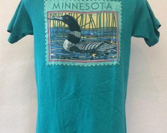 Vtg 1987 Minnesota Duck Stamp T-Shirt Teal M 80s Hanes 50/50