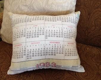 Vintage Linen 1983 Calendar Decorative Pillow