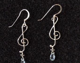 Small Treble Clef Earrings - Sterling Silver, Palest Blue Topaz Drops
