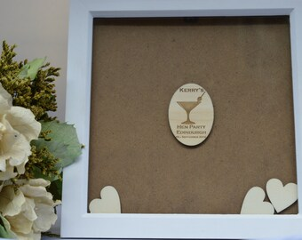 Personalised Hen Party Guest Book, Drop Top Box, Wedding Shower, Guestbook Alternative. Unique Gift And Keepsake. Drop Box Frame.
