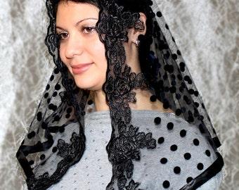 Black veil lace head covering black lace mantilla half circle church veil catholic accessories lace mantilla religious head coverings
