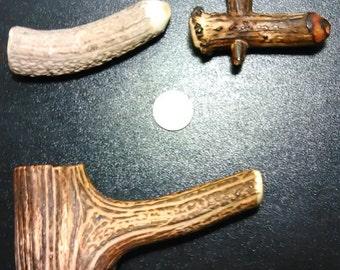 Three (3) Deer Antler Bone pipes
