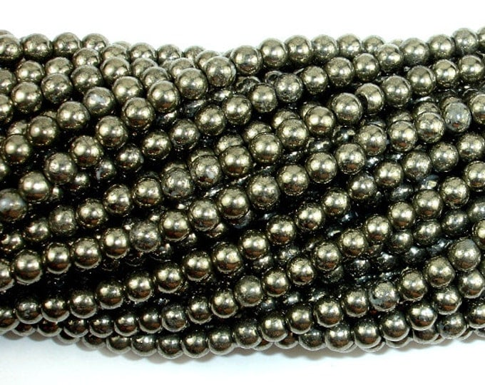 Pyrite Beads, 4mm Round Beads, 15.5 Inch, Full strand, Approx 100 beads, Hole 0.8 mm, A quality (361054009)