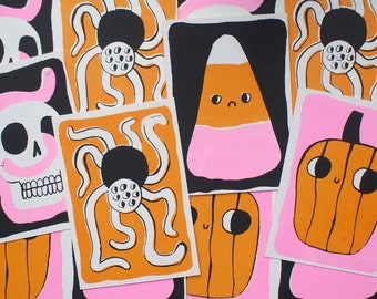 Hand Pulled Screen Printed Halloween A6 Card Set ( 4 Cards + 4 Envelopes! )
