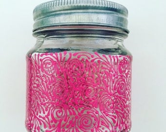 Hand Painted Jar In Hot Pink