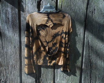 One of a kind bleached destroyed soft thin black long sleeve shirt cut out back heart cut sleeves Small distressed reverse bleach tie dye